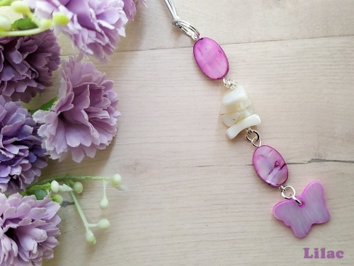 Butterfly Shell Lilac Car Charm