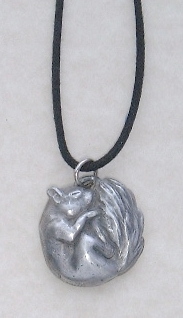 Sleeping Squirrel Pewter Pendant