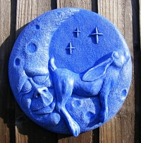 Moon Lazing Hare Garden Wall Plaque