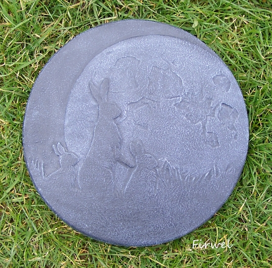Moon Gazing Hare Family Stepping Stone